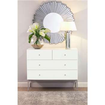 Stiletto Toughened White Glass and Chrome Chest of Drawers (H86 x W100 x D50cm)