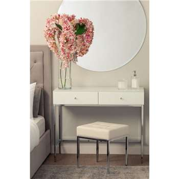 Stiletto Toughened White Glass and chrome Console Table (H80 x W100 x D40cm)