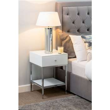 Stiletto Toughened White Glass and Chrome Side Table (H60 x W40 x D40cm)
