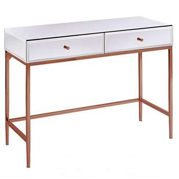 Stiletto Toughened White Glass and Rose Gold Console Table (H80 x W100 x D40cm)