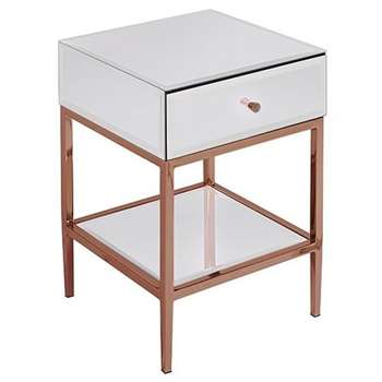 Stiletto Toughened White Glass and Rose Gold Side Table (H60 x D40 x 40cm)