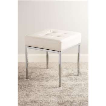 Stiletto White and Chrome Stool (H45 x W40 x D40cm)