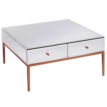 Stiletto White Glass and Rose Gold Coffee Table (H40 x W80 x D80cm)