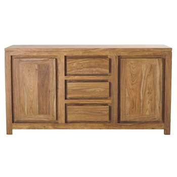 STOCKHOLM Solid Sheesham Wood 2-Door 3-Drawer Sideboard (H85 x W160 x D45cm)