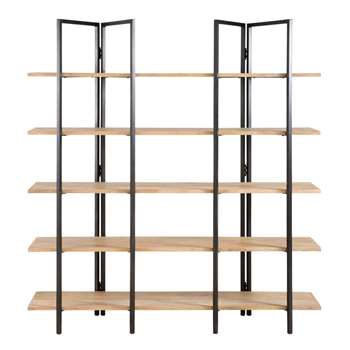 STOKE - Mango Wood and Black Metal Industrial Shelf (H190 x W180 x D40cm)