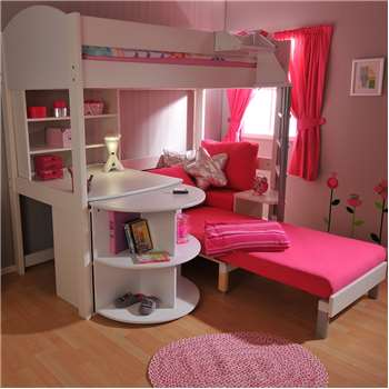 Stompa Casa Kids High Sleeper Bed in White (184 x 208cm)