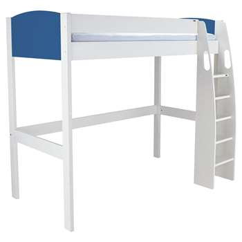 Stompa Uno S Plus High-Sleeper Bed Frame - White/Blue (Width 121.2cm)