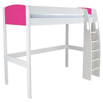 Stompa Uno S Plus High-Sleeper Bed Frame - White/Pink (Width 121.2cm)
