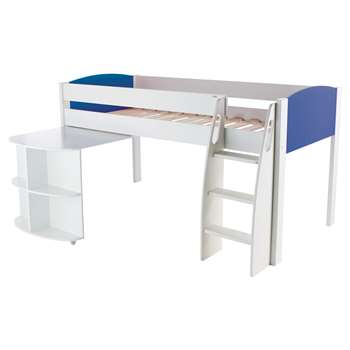 Stompa Uno S Plus Mid-Sleeper Bed with Pull-Out Desk - White/Blue (Width 125.5)