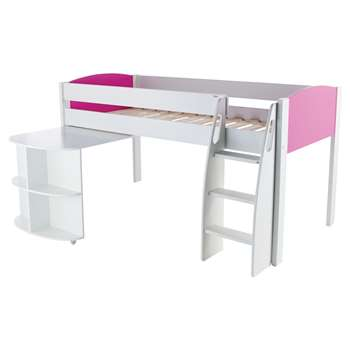 Stompa Uno S Plus Mid-Sleeper Bed with Pull-Out Desk - White/Pink (Width 125.5)