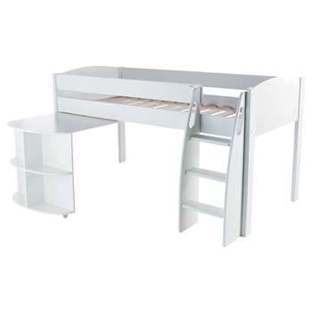 Stompa Uno S Plus Mid-Sleeper Bed with Pull-Out Desk - White (Width 125.5)