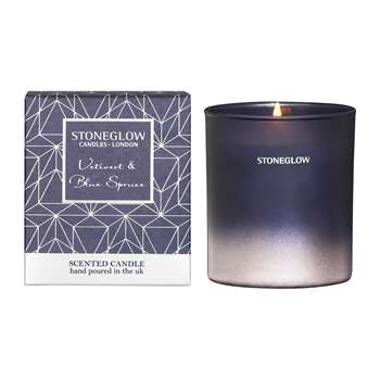Stoneglow - Vetivert & Blue Spruce Tumbler Scented Candle (H9.5 x W8.5 x D8.5cm)