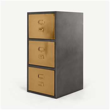 Stow Filing Cabinet, Vintage Brass (H94 x W44 x D50cm)