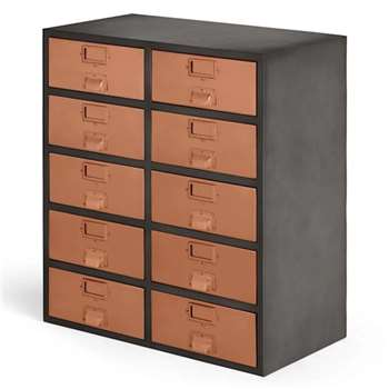 Stow Large Storage Unit, Copper (H82 x W71 x D38cm)