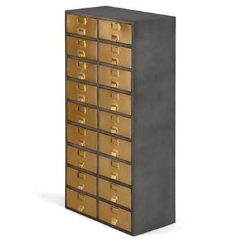 Stow Tall Storage Unit, Vintage Brass (H146 x W71 x D38cm)