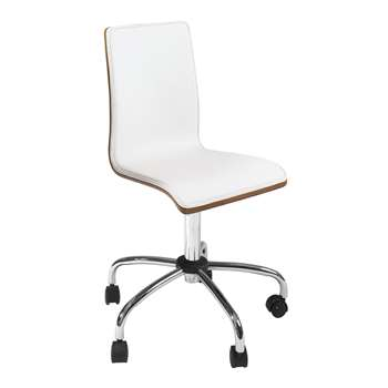Straight back walnut home office chair white (89-99 x 41cm)