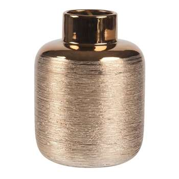 Streaked Vase in Gold Earthernware (H15.5 x W11.8 x D11.8cm)