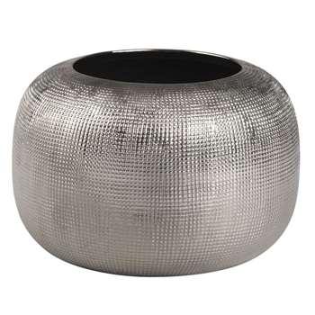 STRIE Silver Stoneware Vase (10 x 16cm)