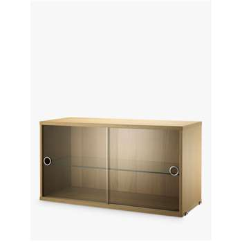 string Storage Cabinet Section with Glass Sliding Doors, Oak (H42 x W78 x D30cm)