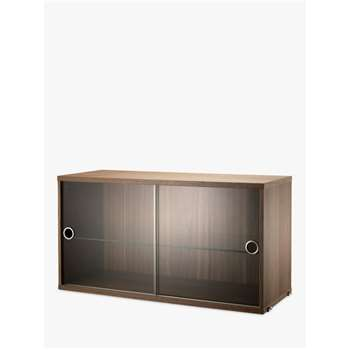 string Storage Cabinet Section with Glass Sliding Doors, Walnut (H42 x W78 x D30cm)