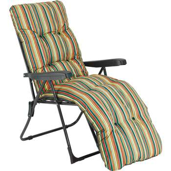Striped Foldable Multi-Position Sun Lounger with Cushion (100 x 60cm)