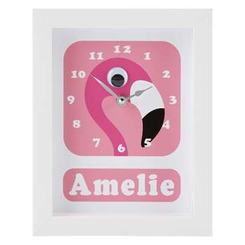 Stripey Cats Personalised Flamingo Pink Framed Clock, Pink (H23 x W18 x D3.5cm)