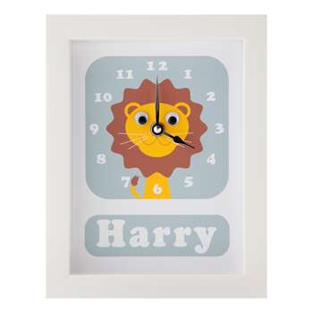 Stripey Cats Personalised Livingston Lion Framed Clock Blue (H23 x W18 x D3.5cm)