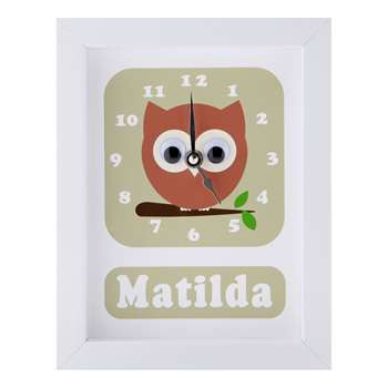 Stripey Cats Personalised Osbert Owl Framed Clock, Green (H23 x W18 x D3.5cm)