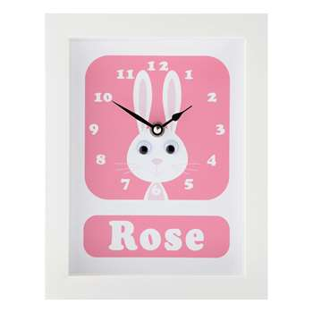Stripey Cats Personalised Rhonda Rabbit Framed Clock, Pink (H23 x W18 x D3.5cm)