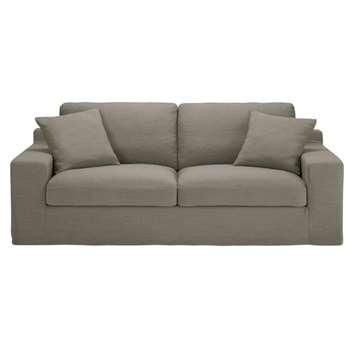 STUART Light Grey 3-Seater Sofa (82 x 210cm)