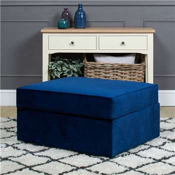 Studio Plush Velvet Footstool Bed - Blue (H44 x W86 x D77cm)