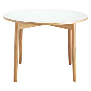 Suki 2-4 seat white folding round dining table (Diameter 100cm)