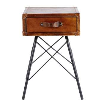 SULLIVAN - Black Metal and Brown Leather 1-Drawer Bedside Table (H60 x W45 x D45cm)