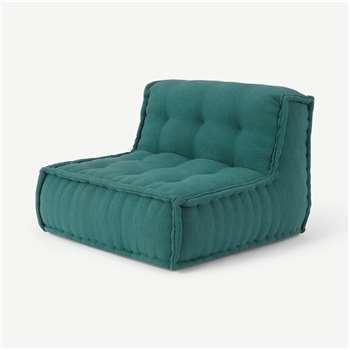 Sully Modular Large Floor Cushion, Teal Cotton Slub (H70 x W90 x D90cm)