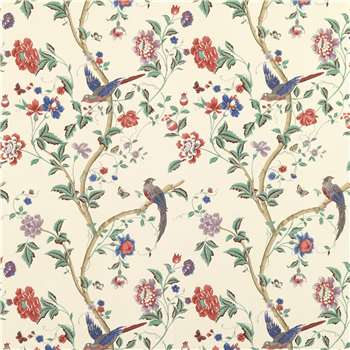 Summer Palace Multi/Crimson Floral Wallpaper