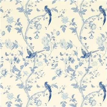 Summer Palace Royal Blue Floral Wallpaper
