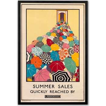 Summer Sales Retro Framed Wall Art Print, Multi (H73 x W64 x D4cm)