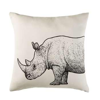 SUNDARA Ecru Outdoor Cushion with Black Rhinoceros Print (H45 x W45 x D10cm)