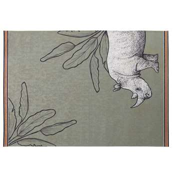 SUNDARA Green Outdoor Rug with Rhinoceros and Foliage Print (H140 x W200cm)