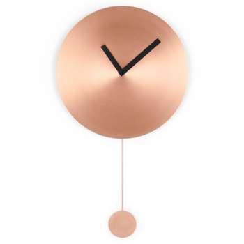 Sunny Large Pendulum Wall Clock, Brushed Copper (H80 x W47 x D5cm)