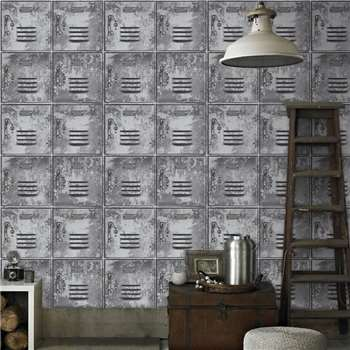 Superfresco Easy - Grey Metal Locker Style Wallpaper