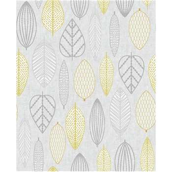 Superfresco Easy Scandi Leaf Yellow Wallpaper (H1000 x W52cm)