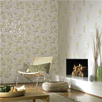 Superfresco Green Botanic Wallpaper, Ivory