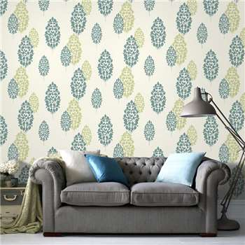 Superfresco Teal Lucy Wallpaper, Green