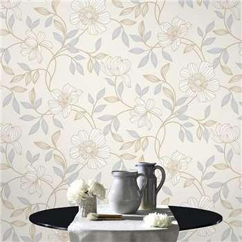 Superfresco White Camille Wallpaper