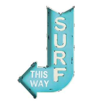 SURF metal arrow wall sign in blue 50 x 80cm