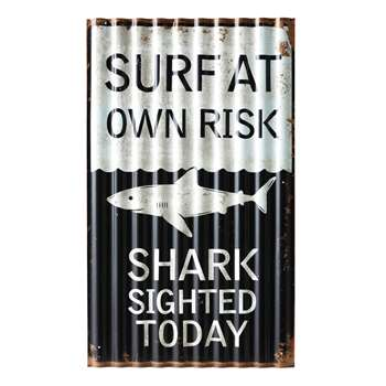 SURFING Black and White Decorative Plaque (55 x 33cm)