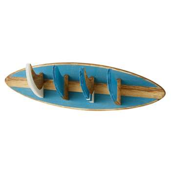 SURFING Blue 4-Hook Coat Rack (18 x 66cm)