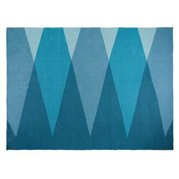 SURFING Graphic Blue Cotton Rug (120 x 180cm)
