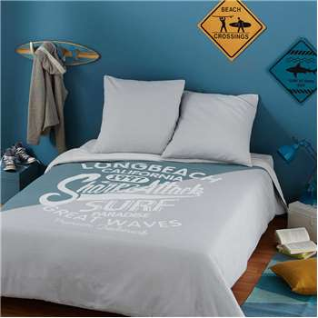 SURFING Printed Grey and Blue Cotton Bedspread (220 x 240cm)